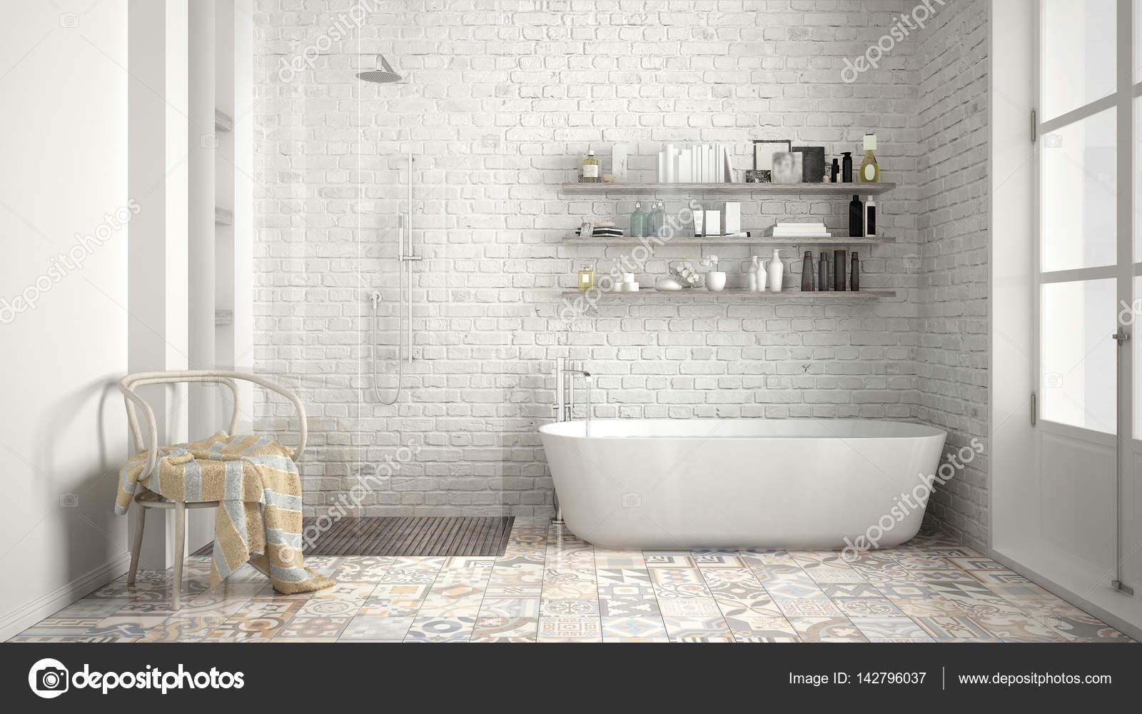 Scandinavische badkamer, klassieke witte vintage interieur ...