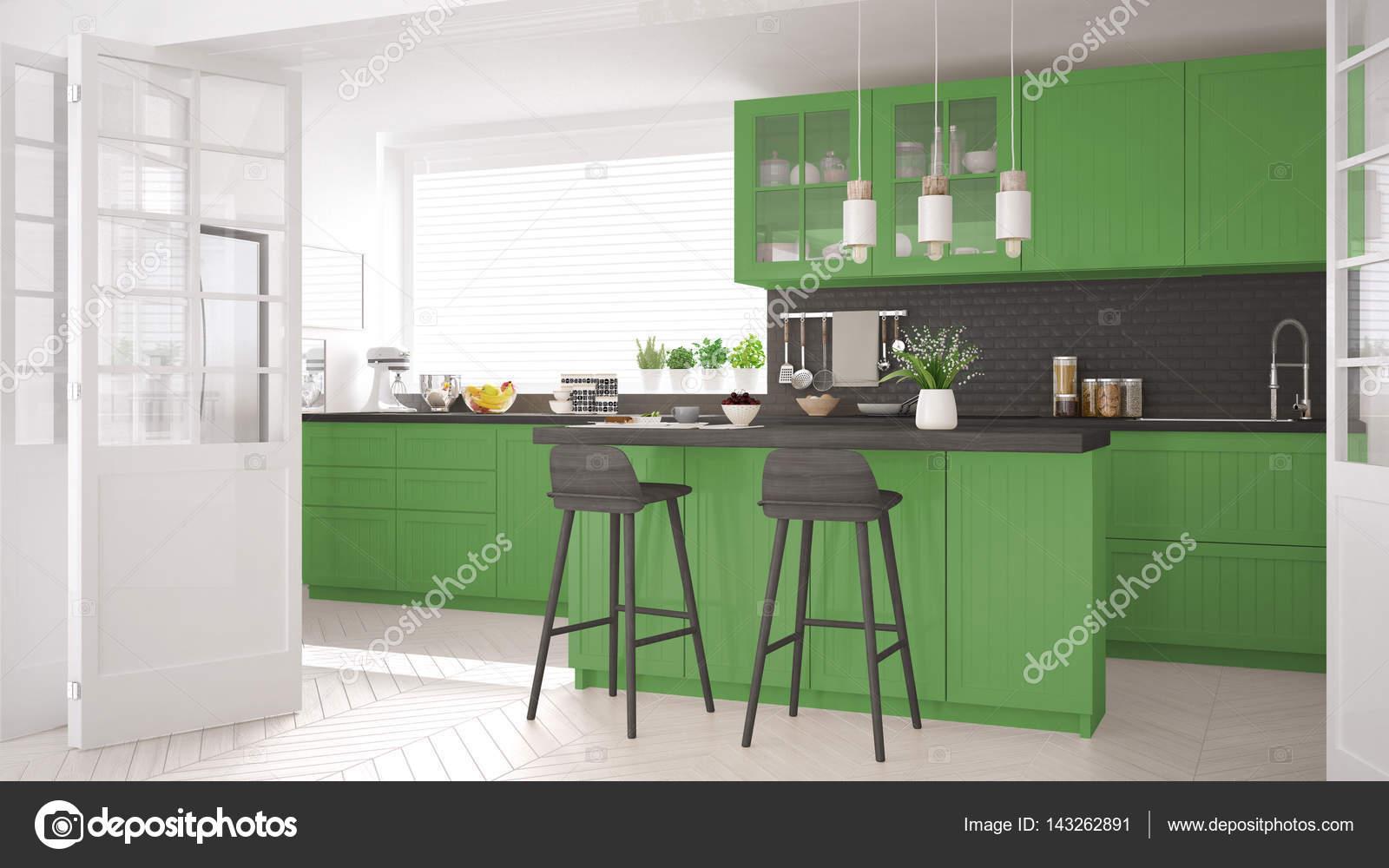 Escandinava Cozinha Cl Ssica Com Detalhes Em Madeira E Verdes Mini