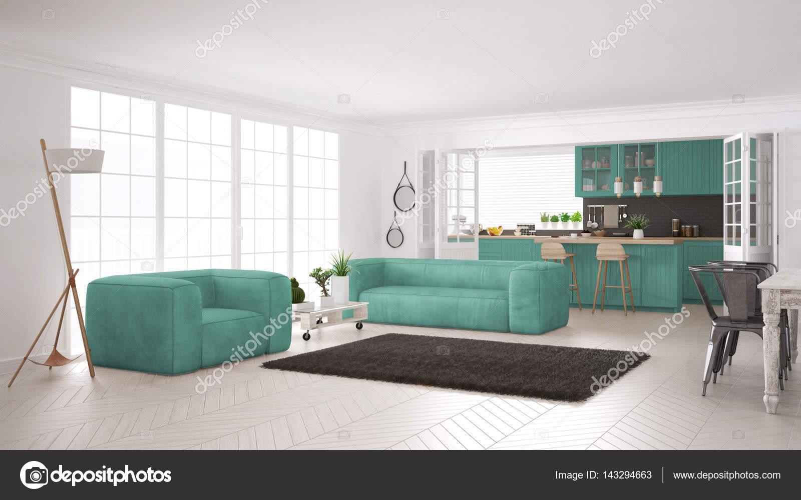 minimalistyczne bia y i turkusowy salon z kuchni skandynawska zdj cie stockowe archiviz. Black Bedroom Furniture Sets. Home Design Ideas