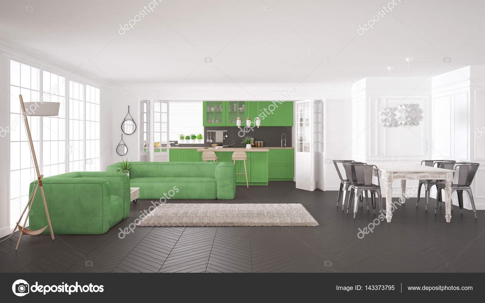 Vida Verde E Branca Minimalista E Cozinha Escandinavo Clas