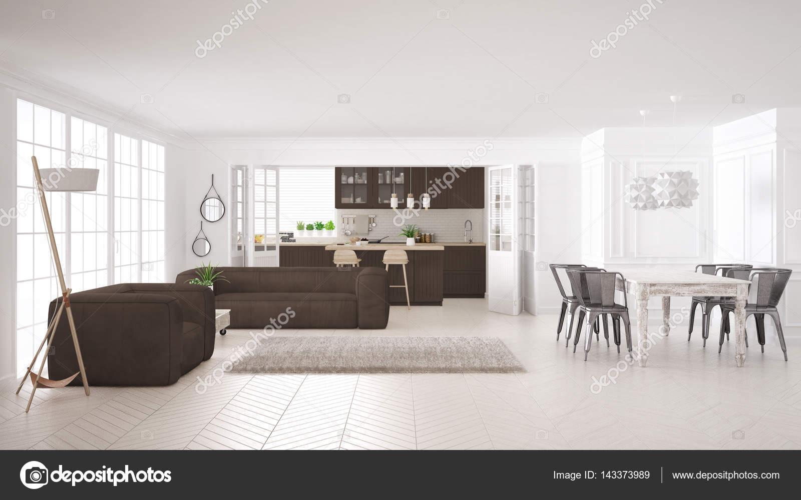 Soggiorno bianco e marrone minimalista e cucina, scandinavo clas ...