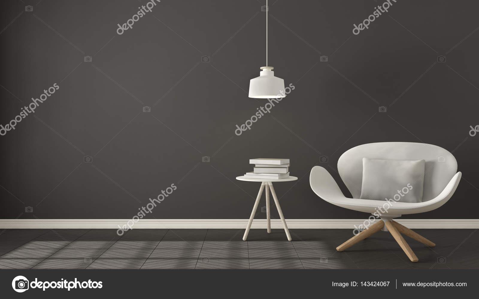 Scandinavische minimalistische achtergrond witte fauteuil met