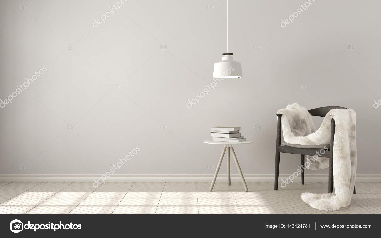 Skandinavische Weißer Hintergrund, Mit Tisch Und Pendelleuchte Lampe Auf Er  U2014 Stockfoto