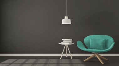 Scandinavian minimalistic background, turquoise armchair with ta