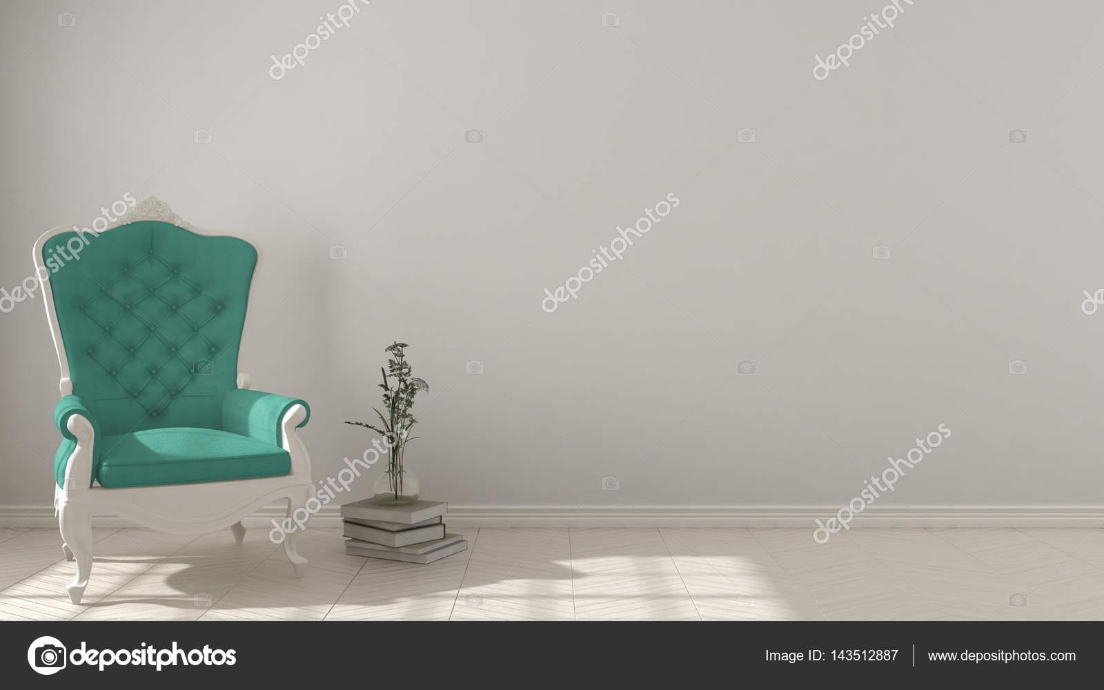 Soggiorno classico sfondo con bianco e turchese vintage espa