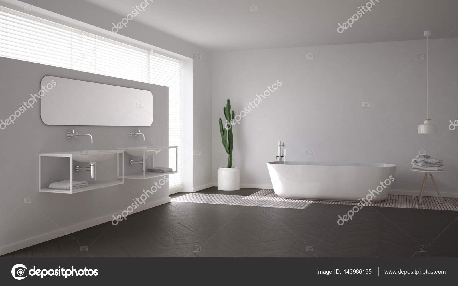 Scandinavische badkamer, witte minimalistische interieur design ...