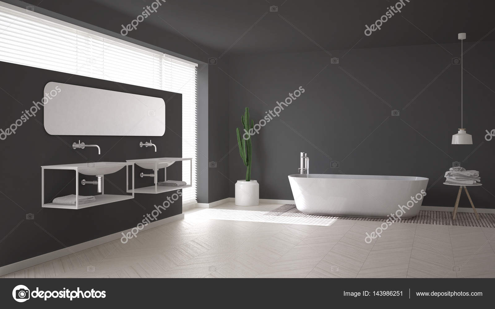Casa de banho escandinava branco e cinza desi interior for Casa minimalista interior