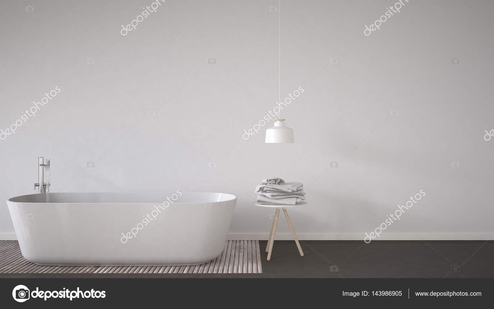 Scandinavian bathroom background, bathtub, table and lamp on her ...