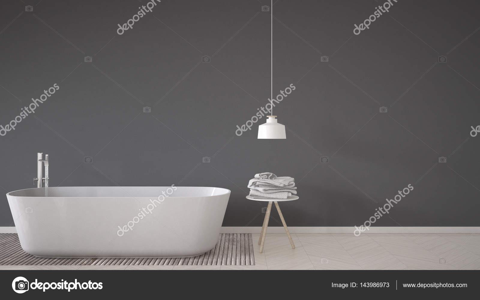 Achtergrond van de Scandinavische badkamer, badkuip, tabel en lamp ...