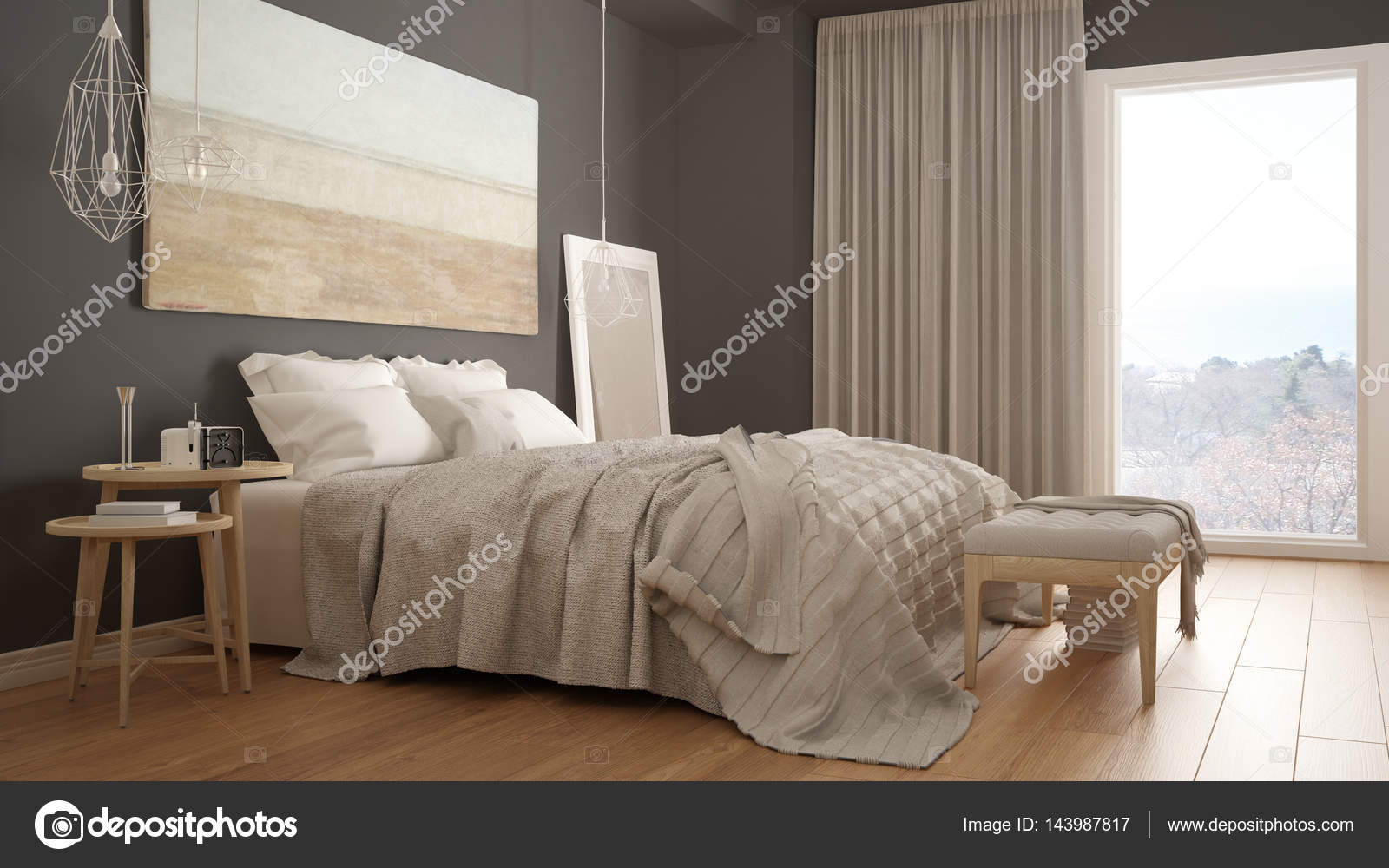 klassieke slaapkamer moderne scandinavische stijl minimalistische interieur foto van archiviz