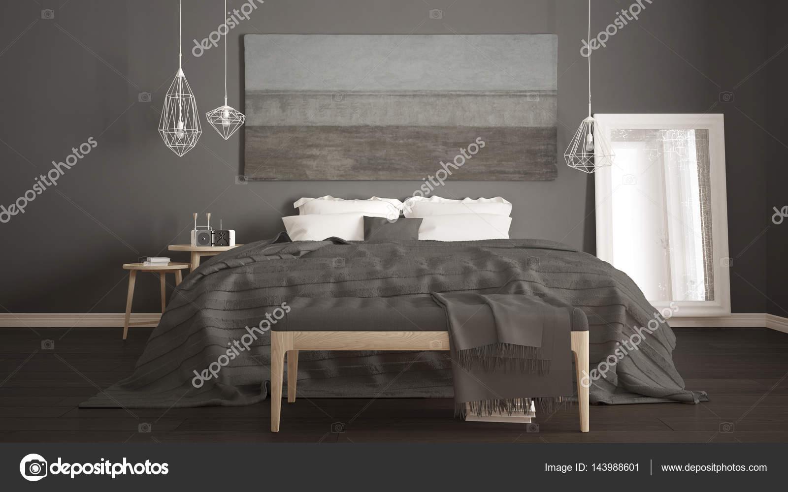 Camera da letto classica, stile moderno scandinavo, minimalista ...