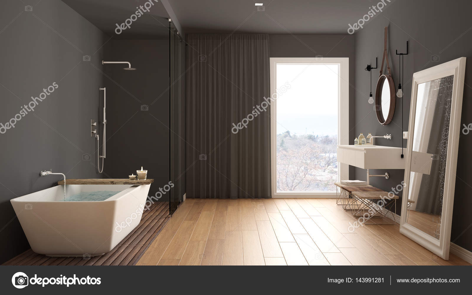 Modern interieur van een badkamer met showe stockfoto moderne