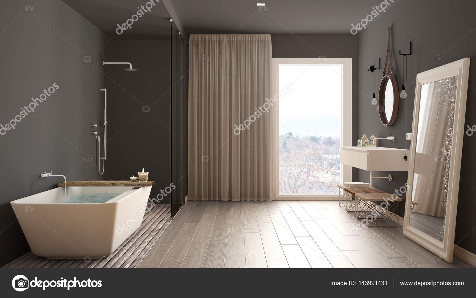 Klassieke badkamer, modern minimalistisch interieur — Stockfoto ...