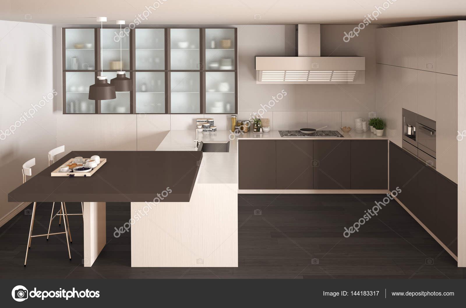 Klassische minimale weiße und braune Küche mit Parkett, Modus ...