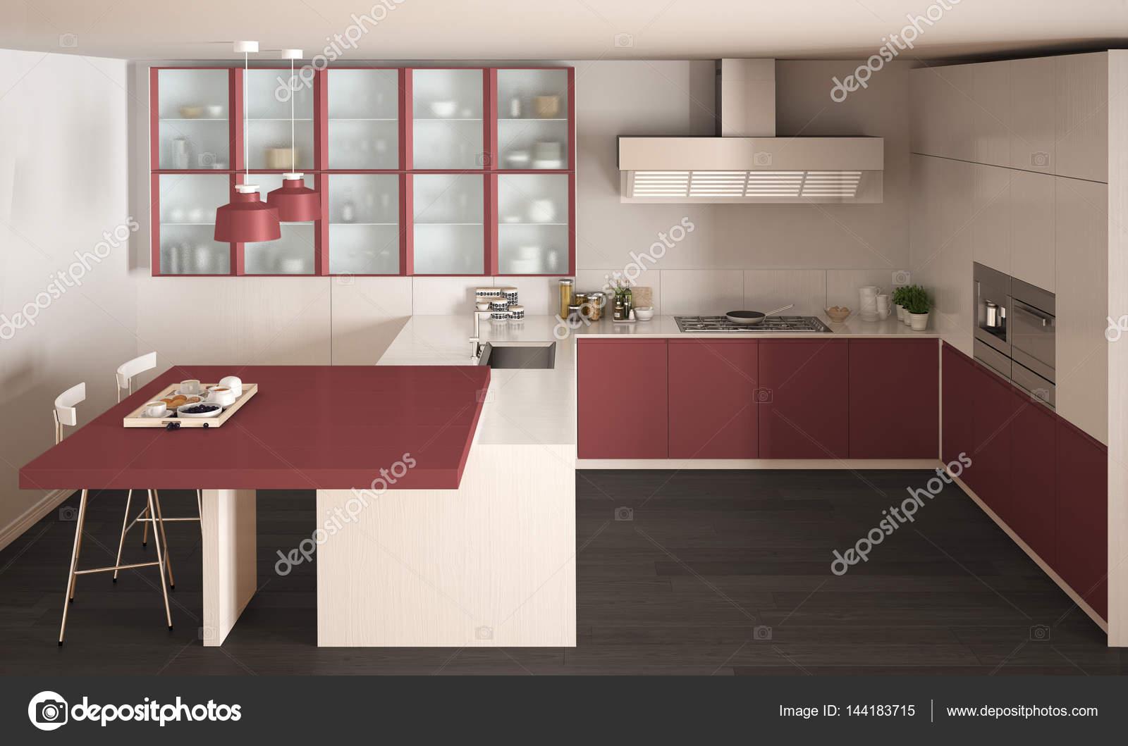 Cucina classica minimal bianco e rosso con pavimento in parquet ...