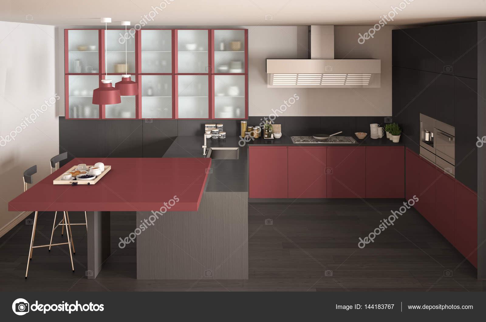 Cucina classica minimal grigio e rosso con pavimento in parquet ...