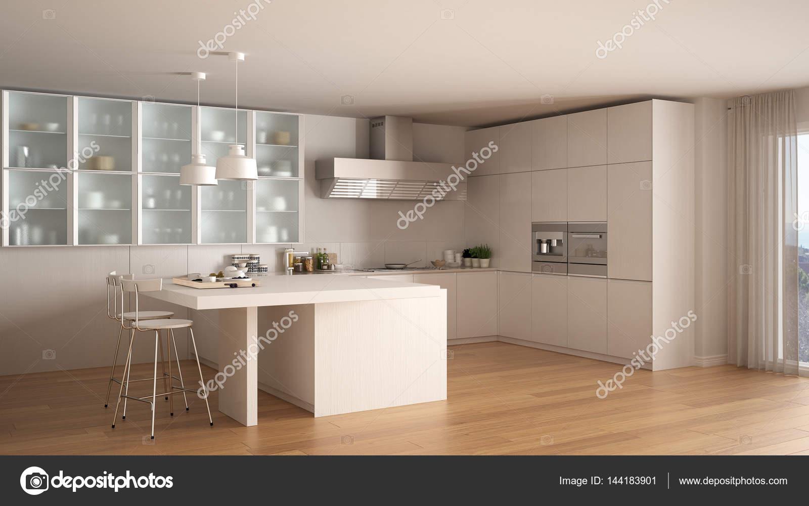 Cucina bianca minimo classico con pavimento in parquet, interio ...