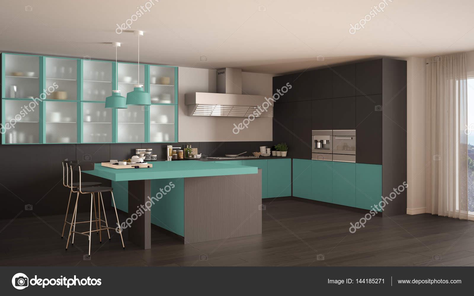 Cuisine Avec Parquet Gris classic minimal gray and turquoise kitchen with parquet