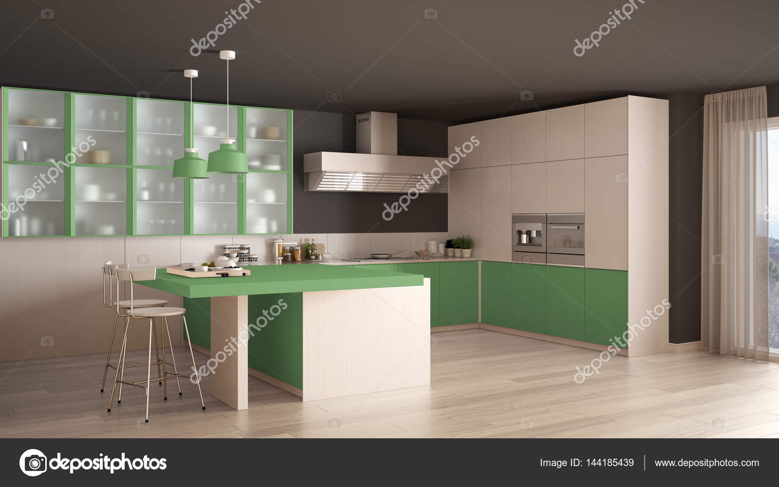 cuisine classique minimale blanche et verte avec sol en parquet mode photo