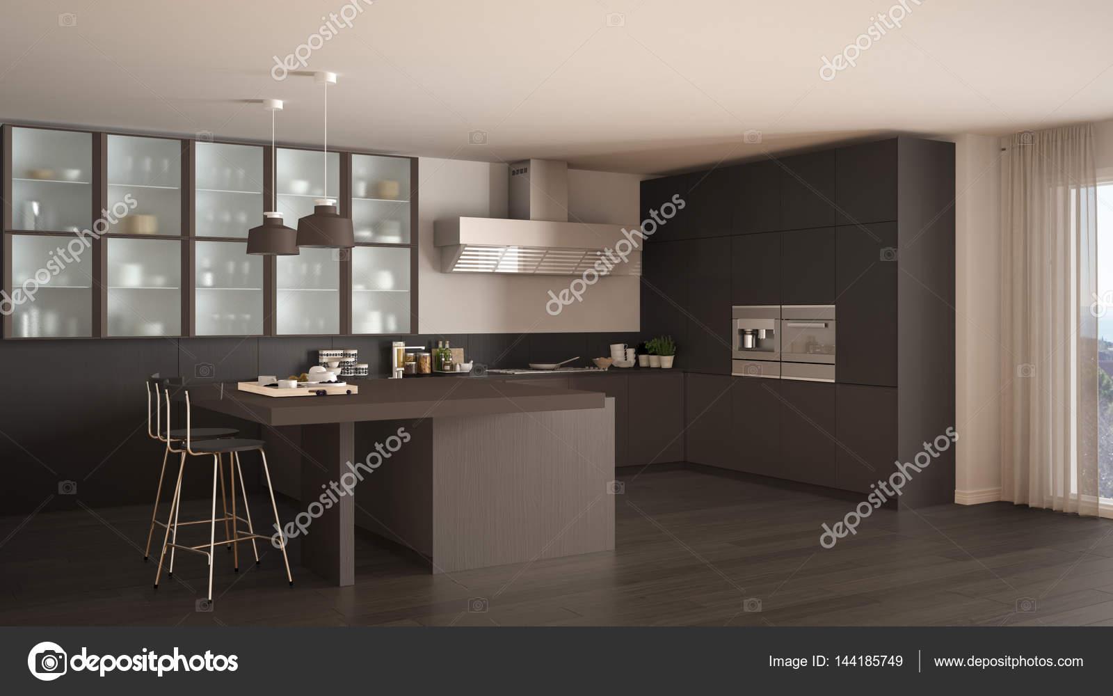Arredamento Grigio E Marrone.Cucina Classica Minimal Grigio E Marrone Con Pavimento In Parquet