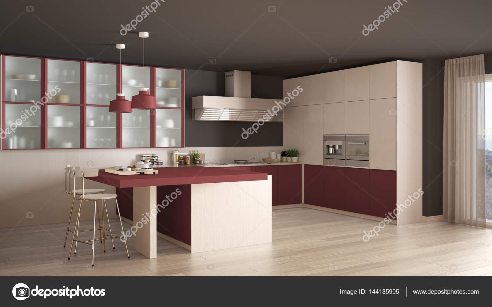 Pavimento Rosso E Bianco : Cucina classica minimal bianco e rosso con pavimento in parquet