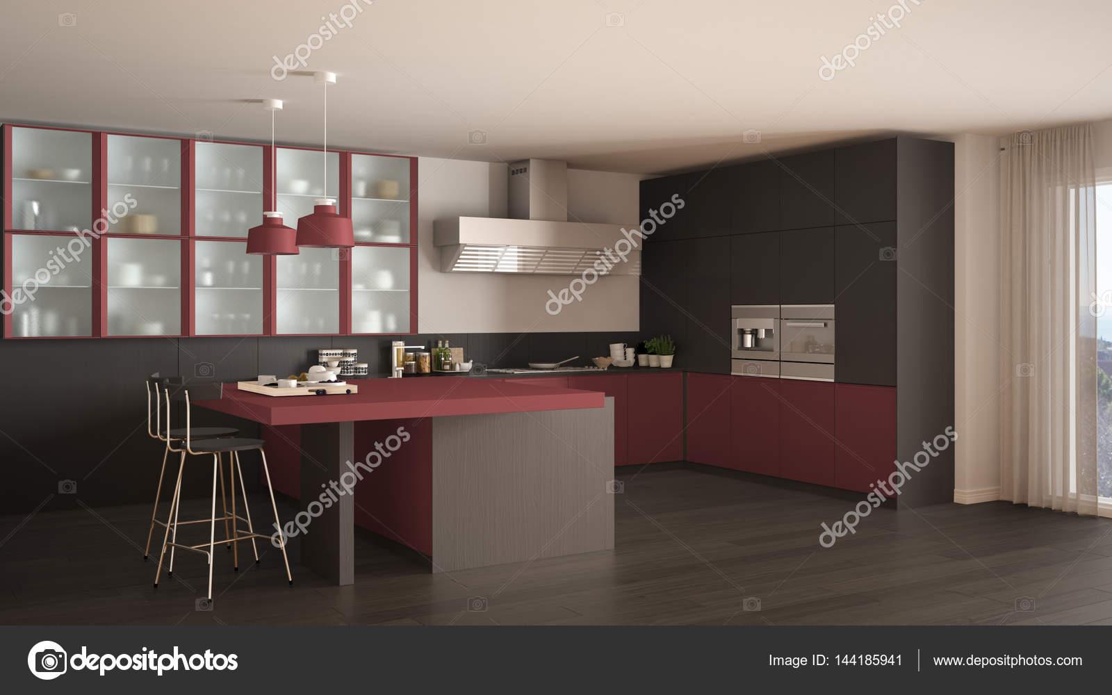 Cozinha M Nima De Cinza E Vermelha Cl Ssica Com Piso Em Parquet