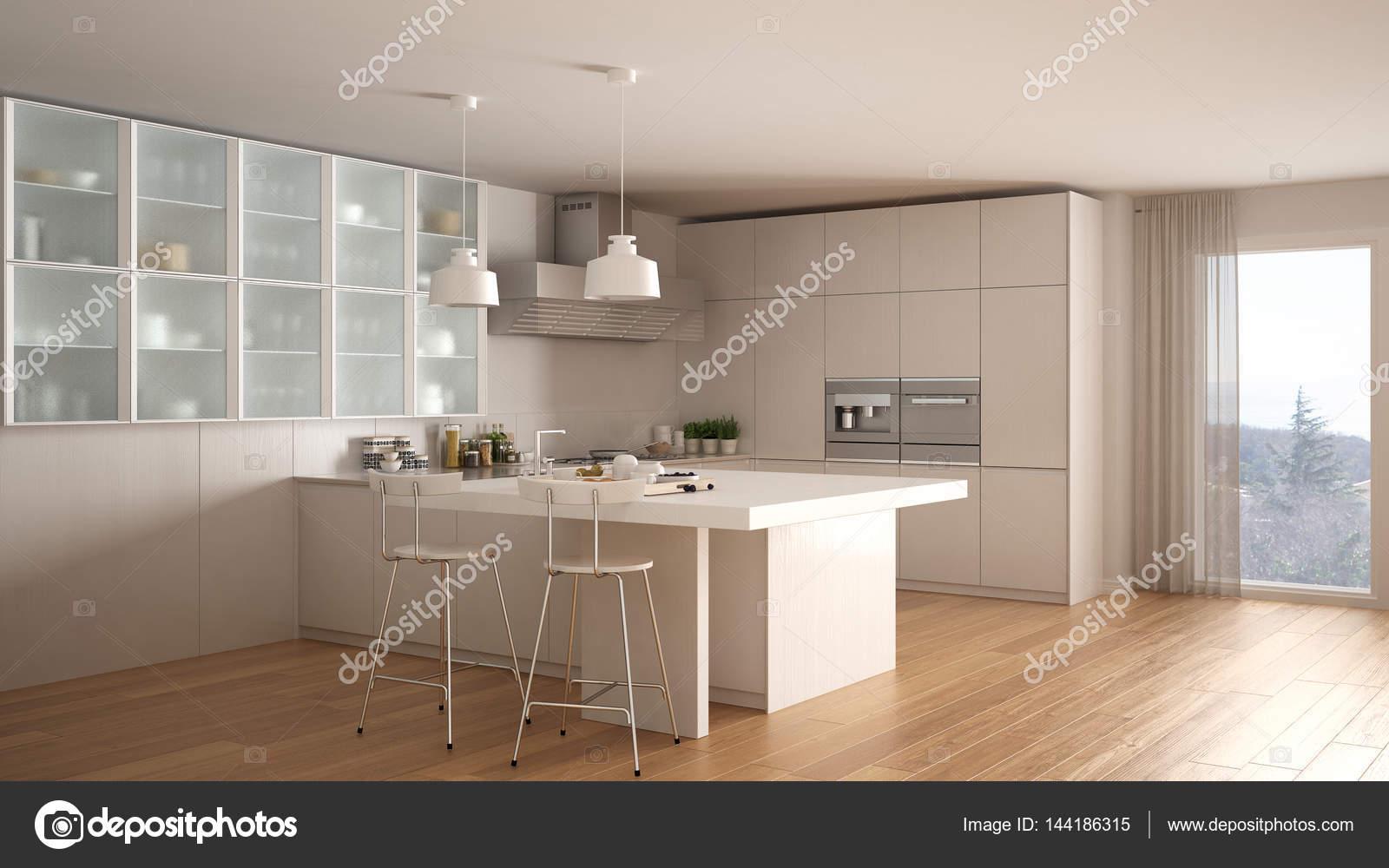 Klassische minimale weiße Küche mit Parkett, modernen interio ...