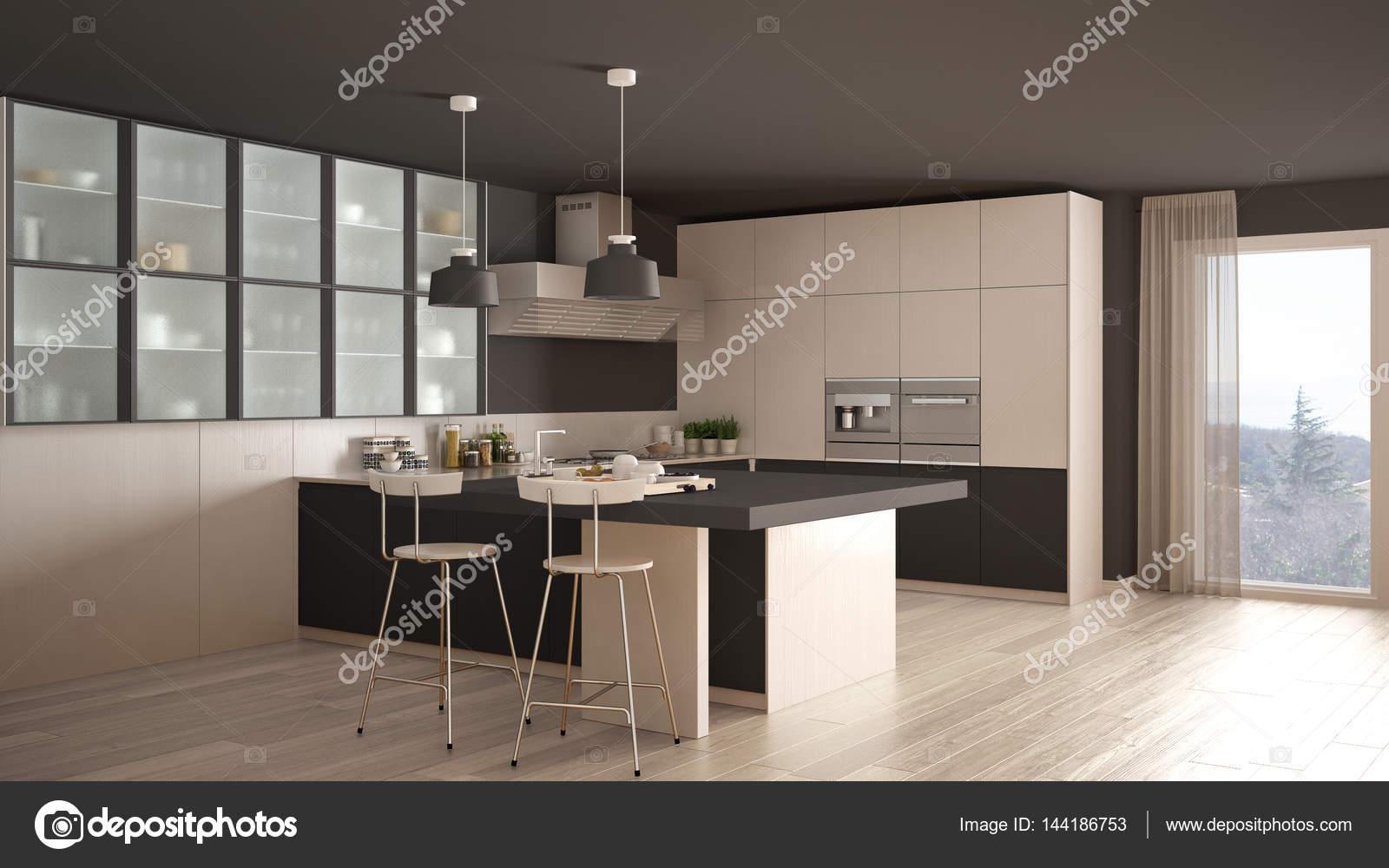Pavimento Bianco E Grigio : Cucina classica minimal bianco e grigio con pavimento in parquet