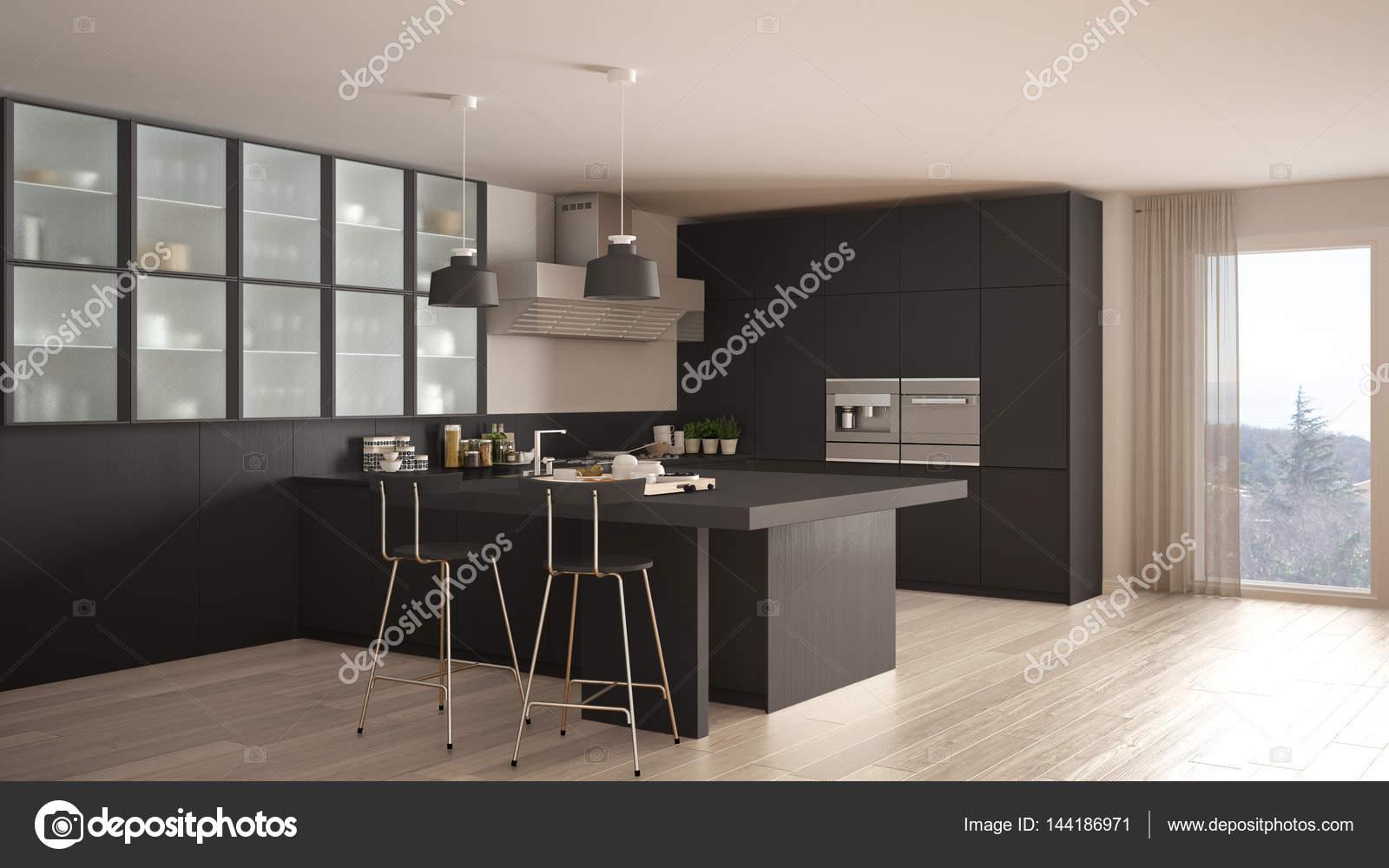 Klassieke minimale grijze keuken met parketvloer moderne