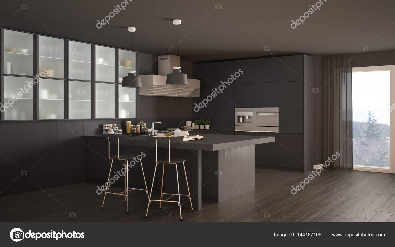 Klassische minimale grau Küche mit Parkett, modernen Interieur ...