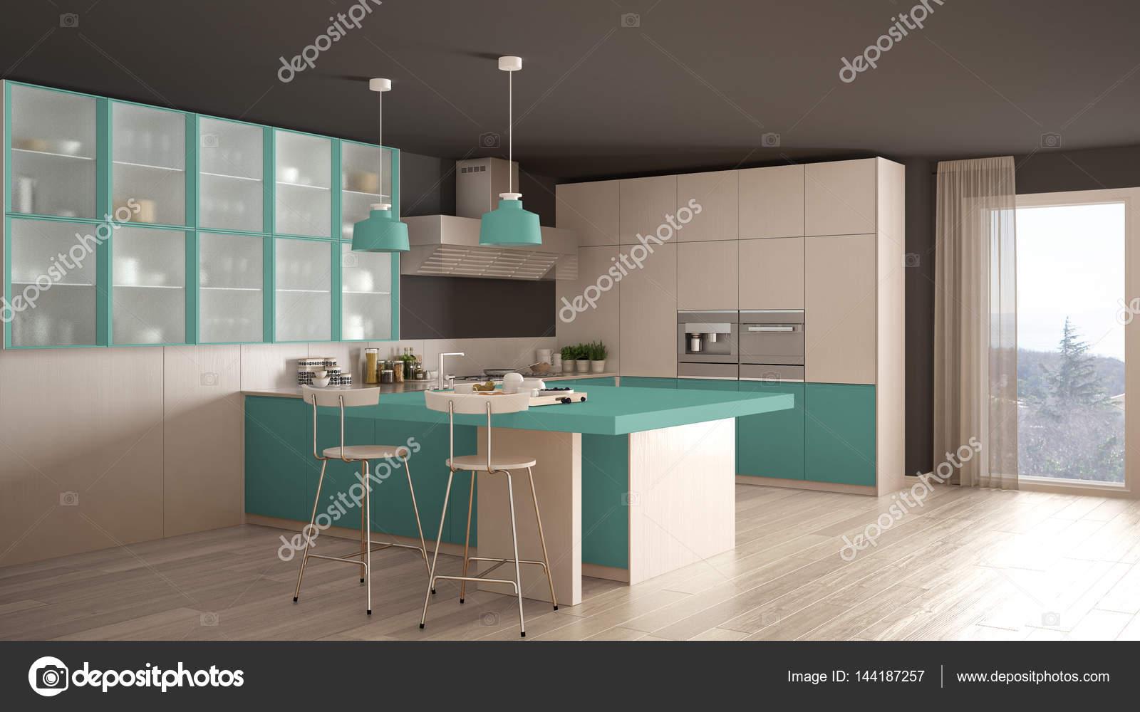 Klassische minimale weiße und türkisblaue Küche mit Parkett ...