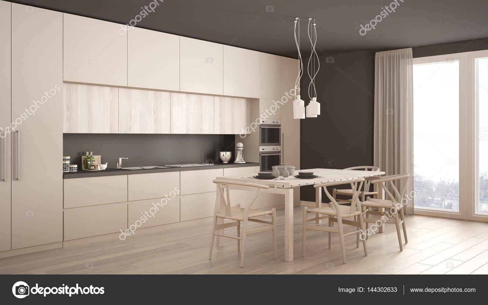 Visgraat Vloer Keuken : Moderne minimale witte keuken met houten vloer klassiek interieur