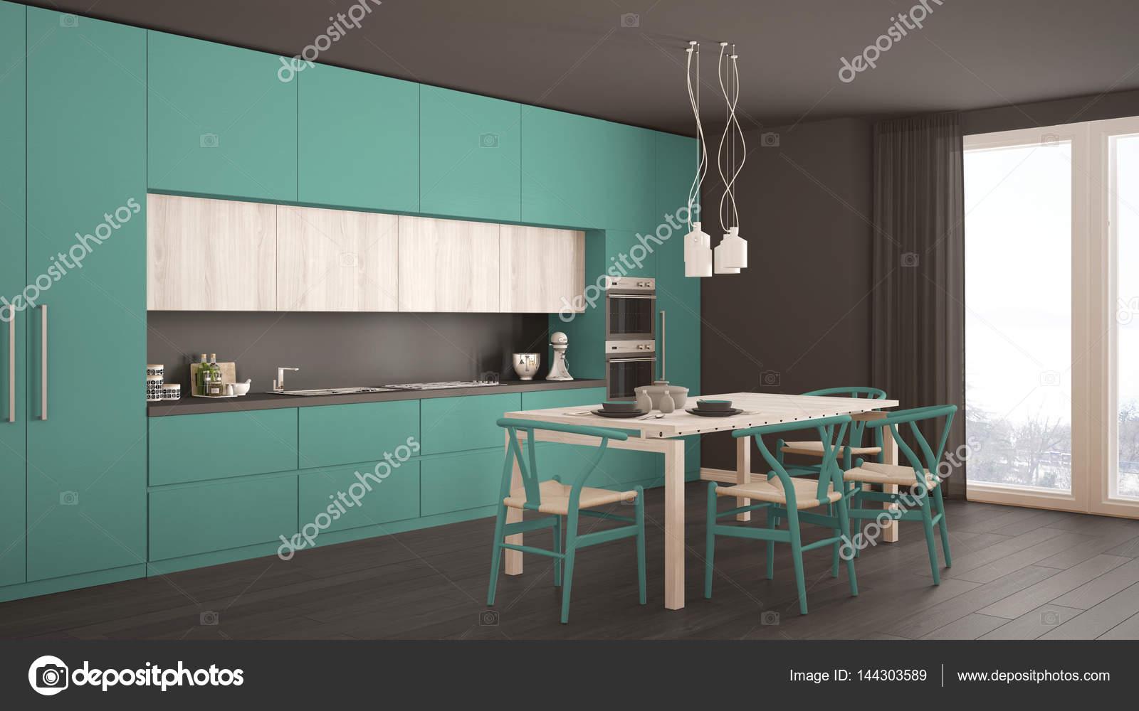 Cucina turchese minimal moderno con pavimento in legno, classico ...