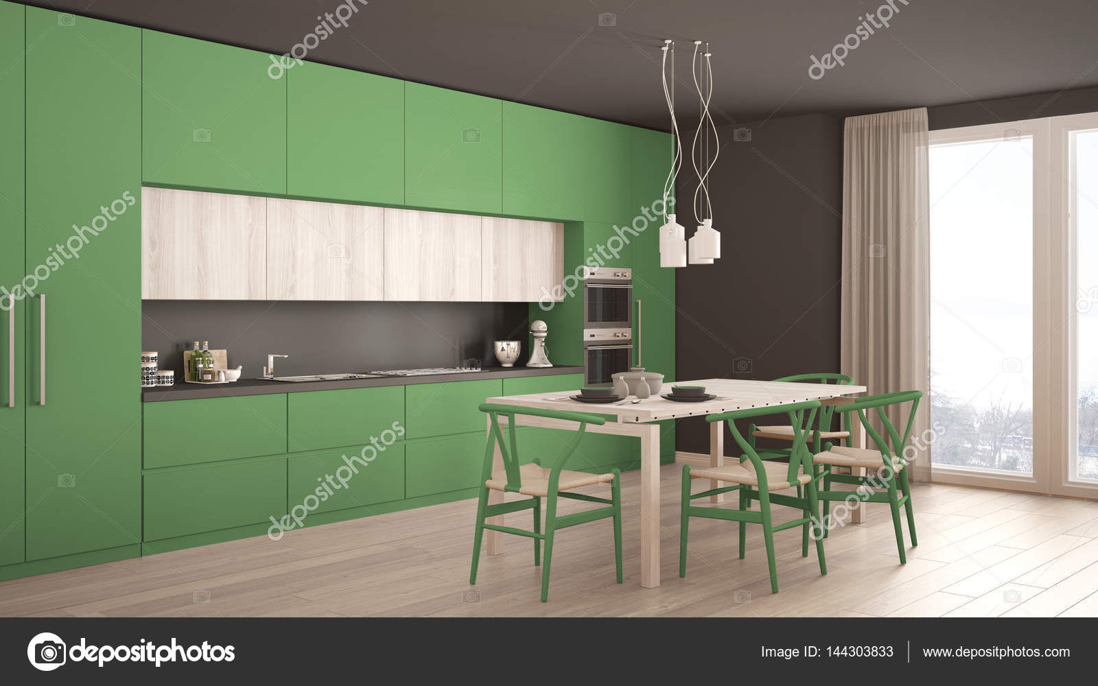 Modern Minimal Green Kitchen With Wooden Floor, Classic ...