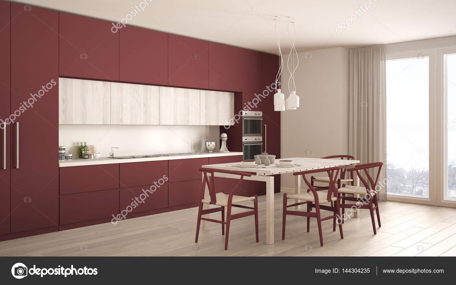 Cucina rossa minimal moderno con pavimento in legno, classico d ...