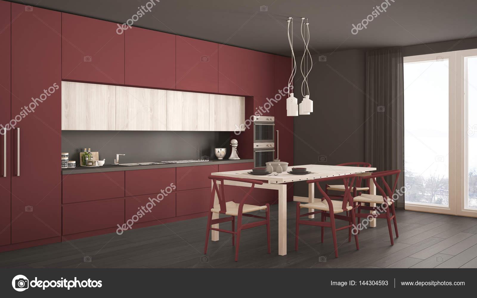 Modern Minimal Red Kitchen With Wooden Floor, Classic Interior Design U2014  Photo By ArchiVIz