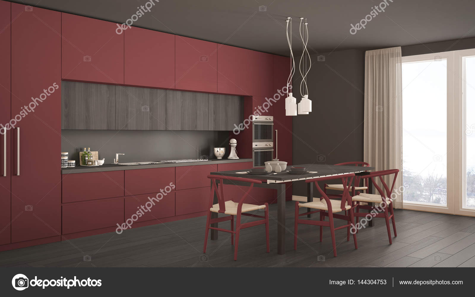 Modern Minimal Red Kitchen With Wooden Floor, Classic Interior Design U2014  Photo By ArchiVIz