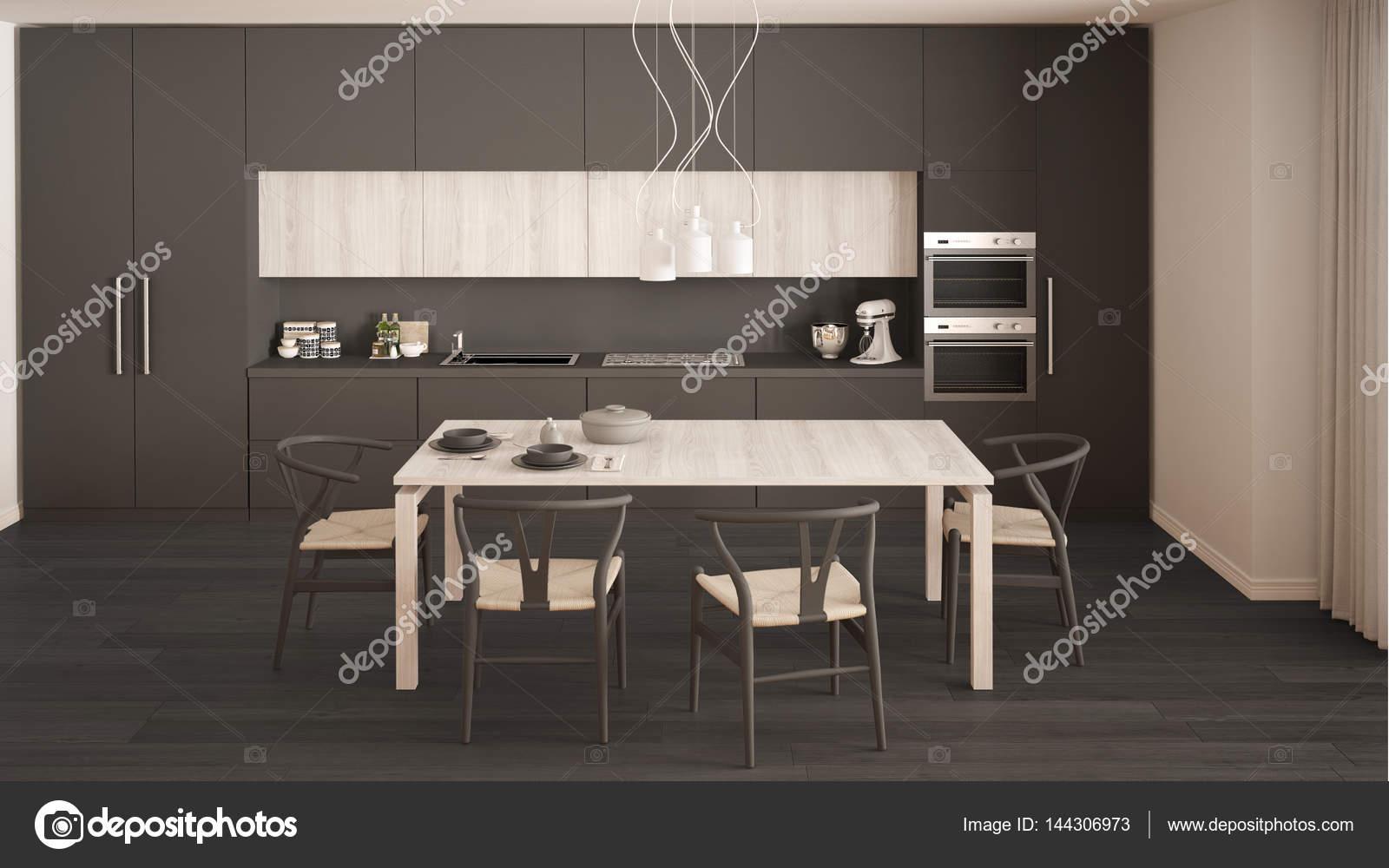 Moderne minimal grau Küche mit Holzboden, klassisches Interieur ...