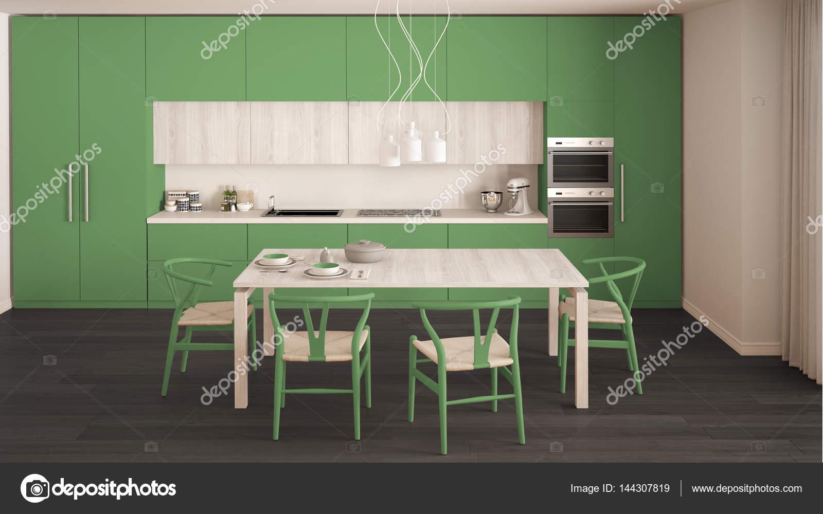 Mint Groene Keuken : Moderne minimale groene keuken met houten vloer klassiek