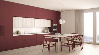 Modern minimal red kitchen with wooden floor, classic interior d