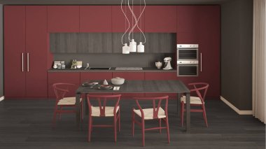 Modern minimal red kitchen with wooden floor, classic interior d