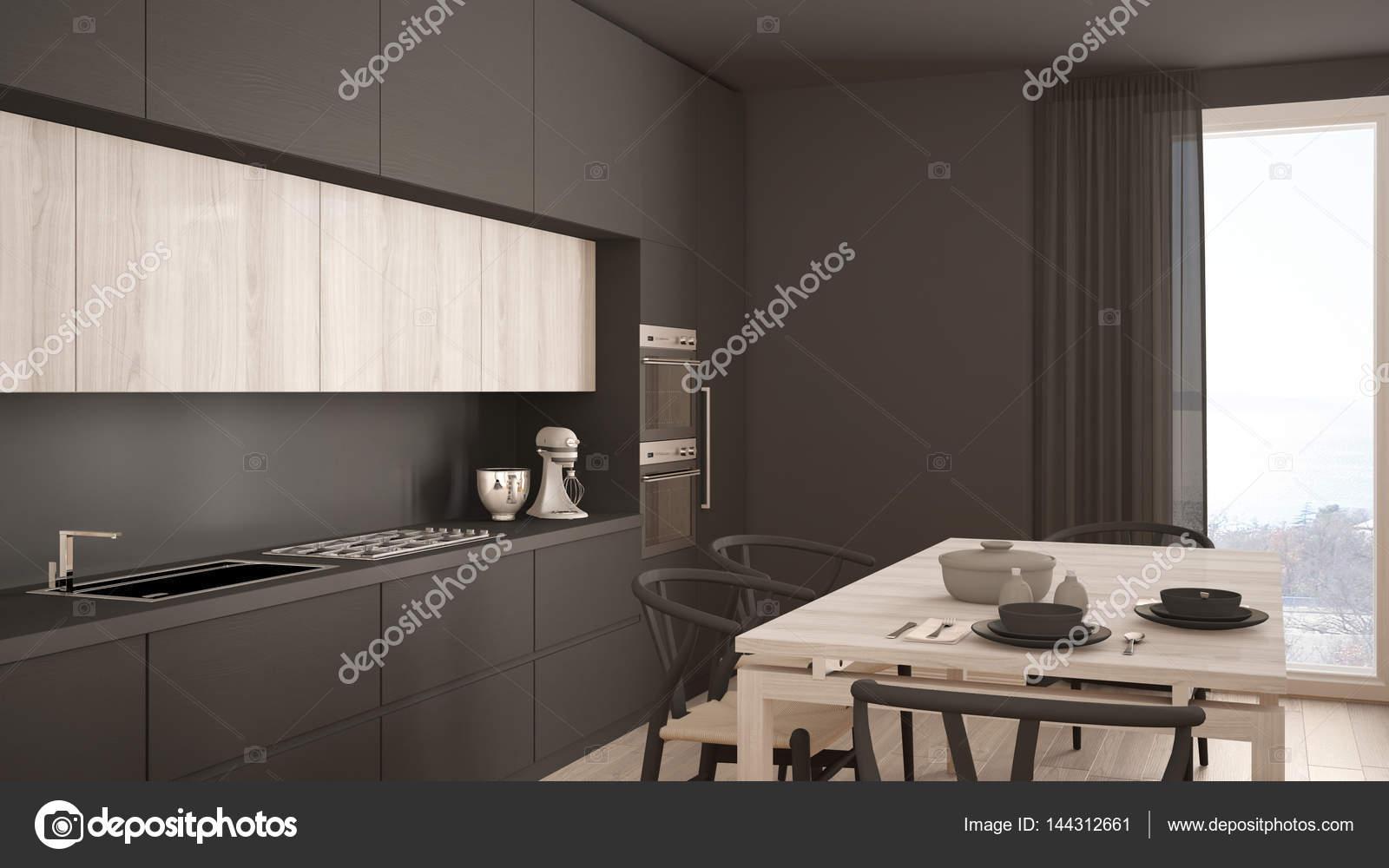 Moderne minimale grijze keuken met houten vloer klassiek