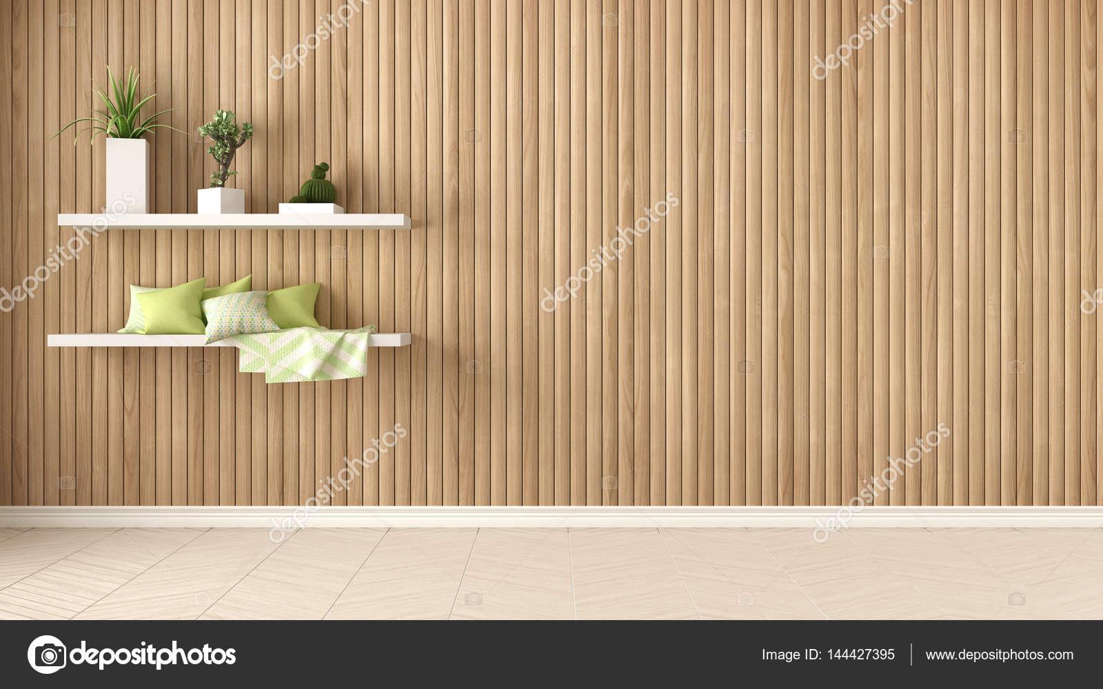 Svuotare la camera ripiani con cuscini e succulente piante in