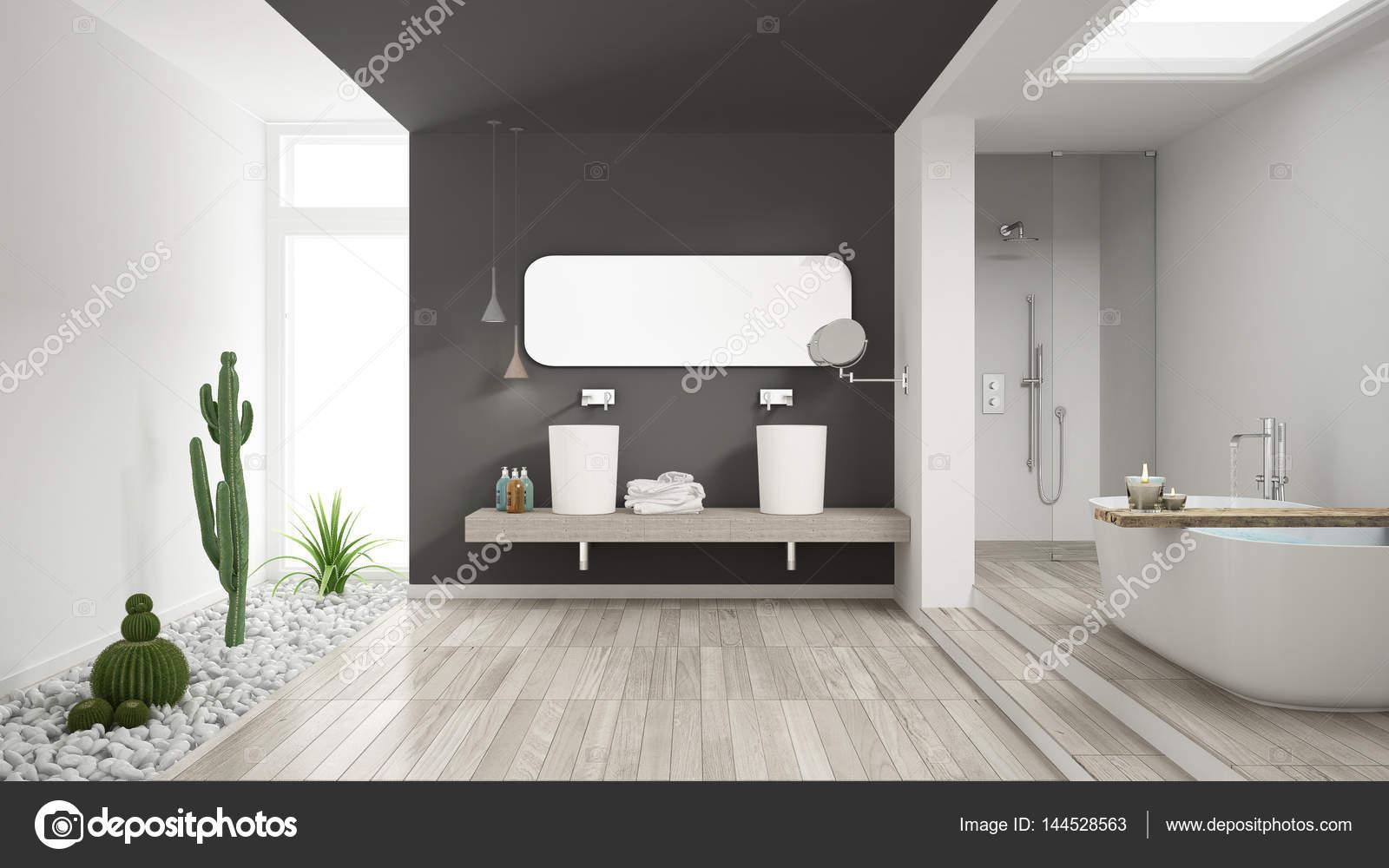 Minimalistische witte badkamer met heerlijke tuin houten