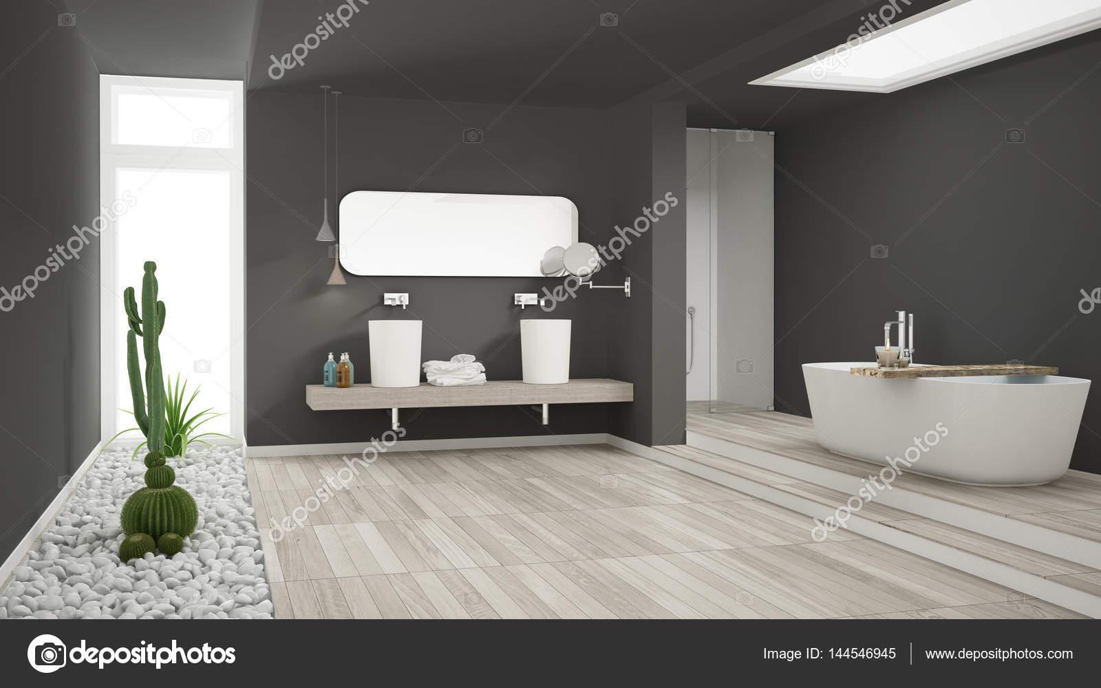 minimalistische weiße badezimmer mit sukkulentengarten, holzboden