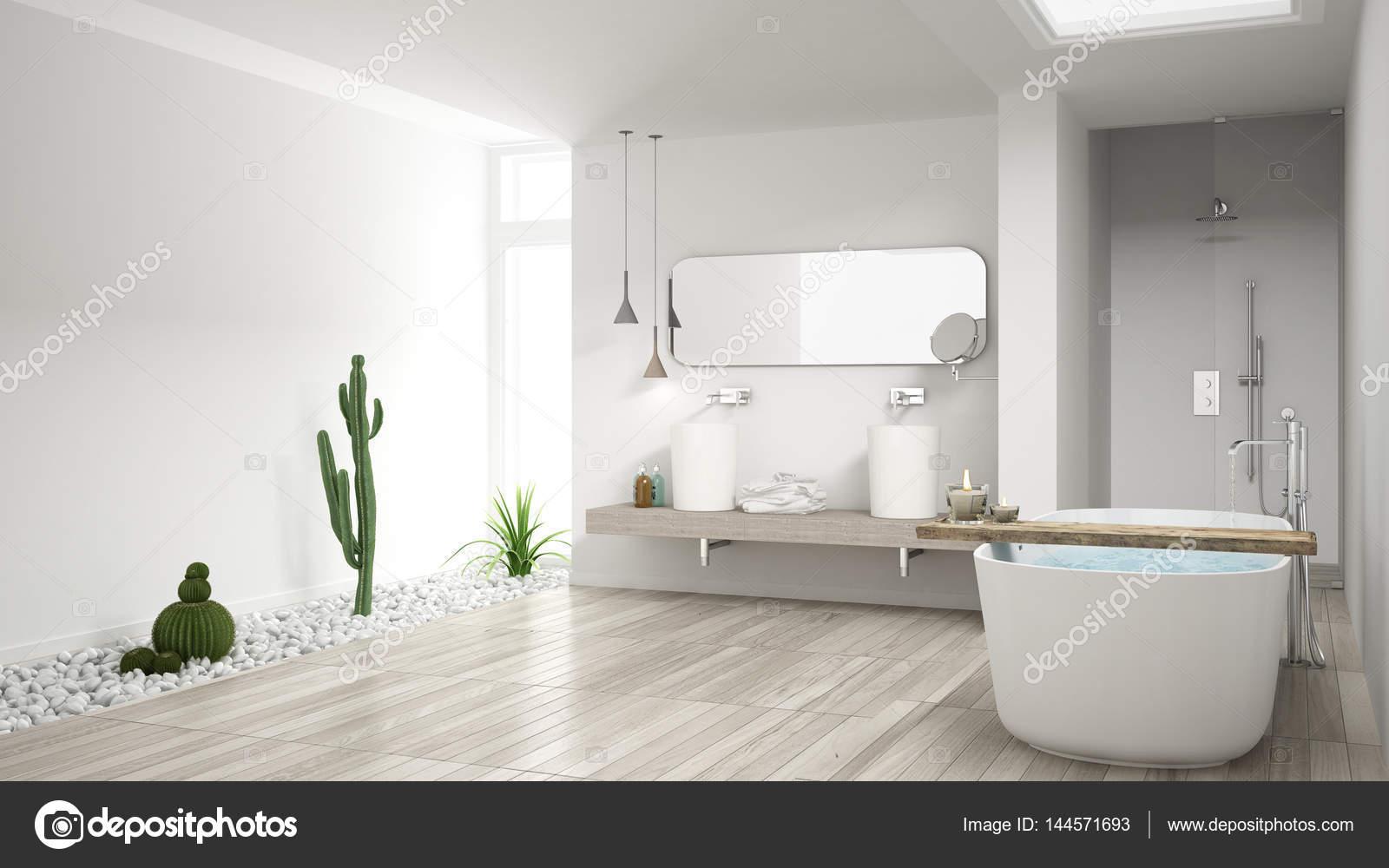 Minimalistische witte badkamer met heerlijke tuin, houten vloer een ...