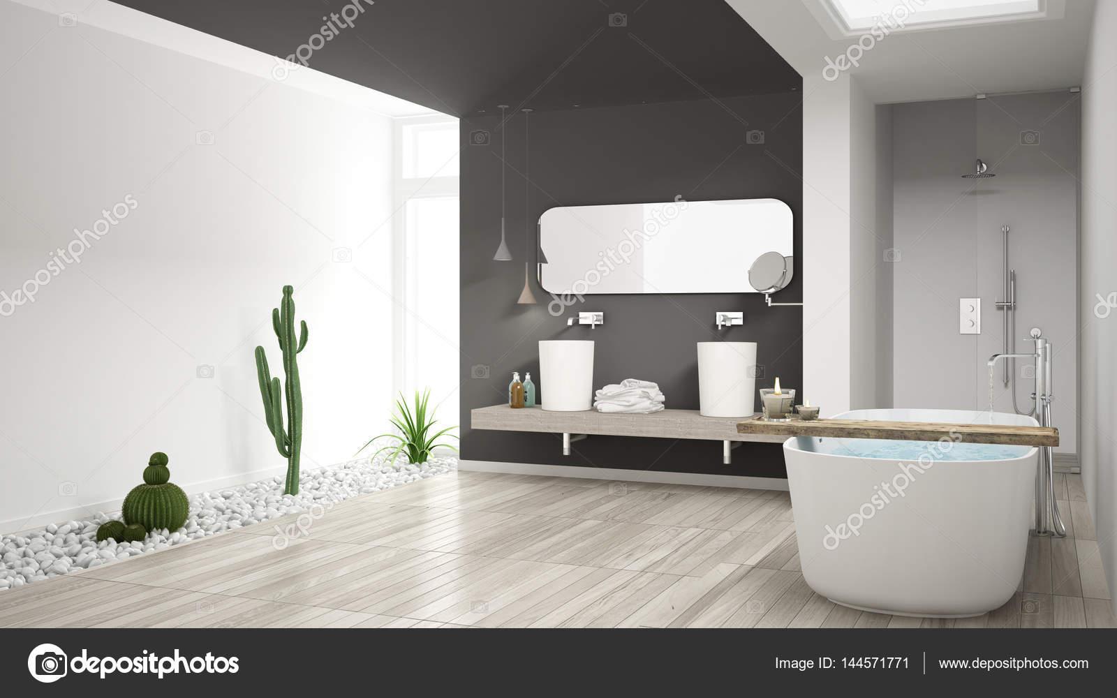 Minimalistische witte badkamer met heerlijke tuin houten vloer een