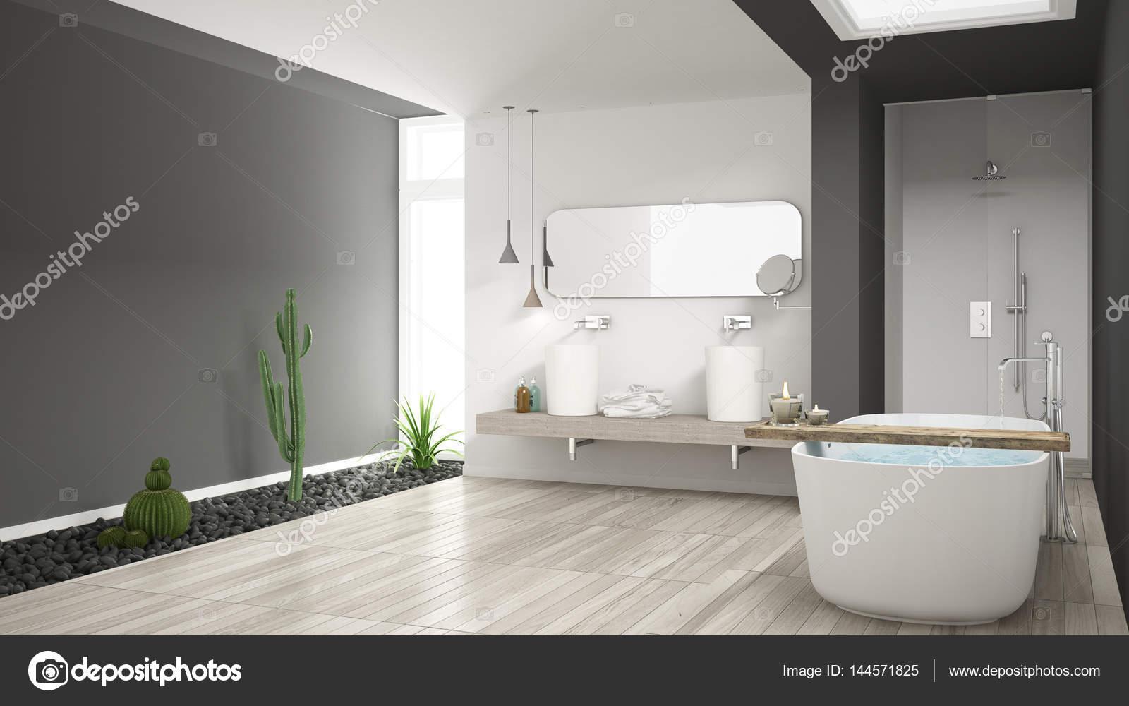 Minimalistische weiße Badezimmer mit Sukkulentengarten, Holzboden ...