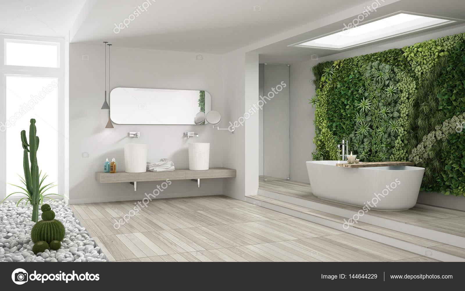 Salle De Bain Galet Blanc ~ salle de bain blanc minimaliste avec jardin vertical et succulent