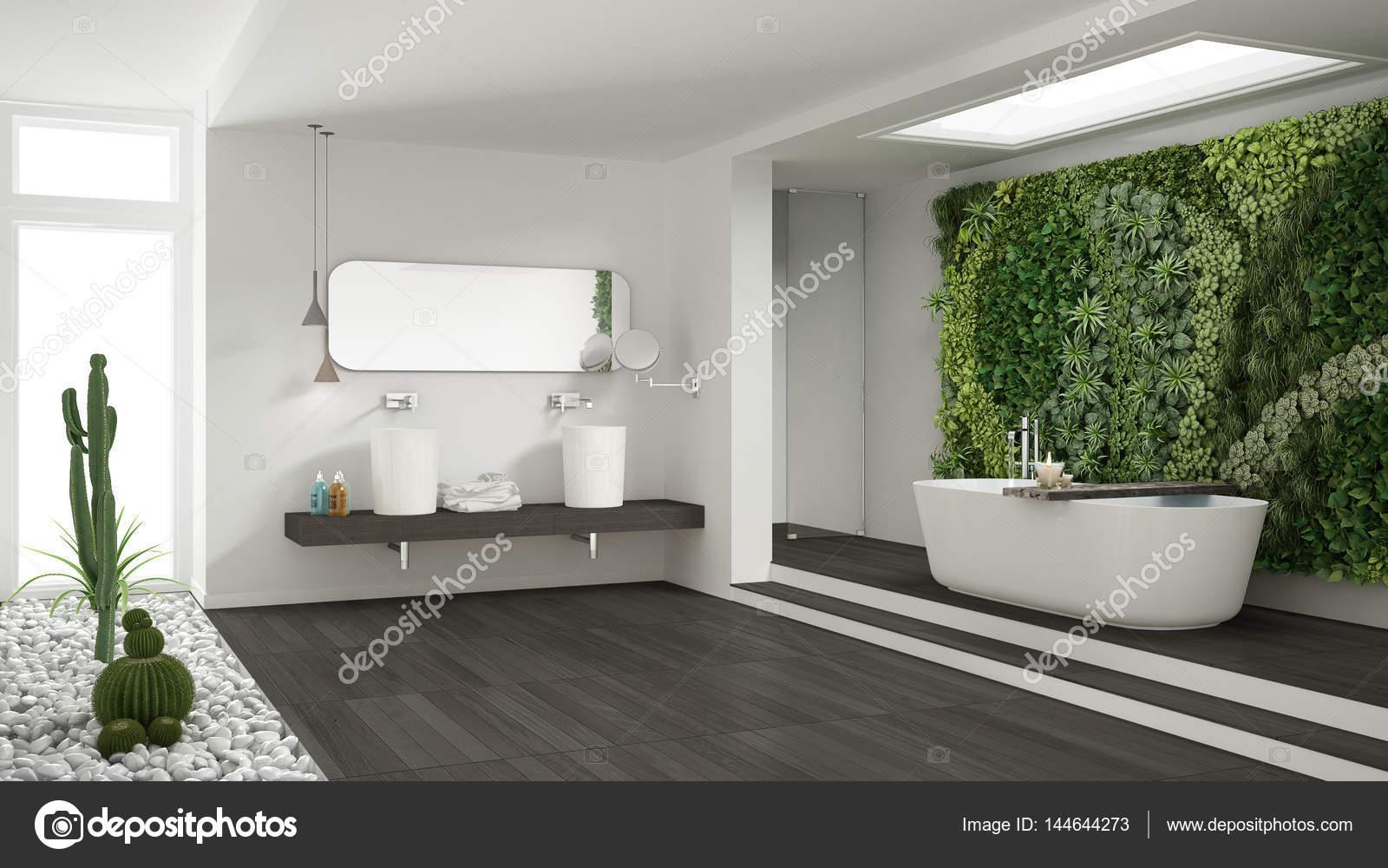 Minimalistische witte badkamer met verticale en sappige tuin wo
